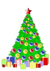Beautiful Christmas fir tree with garland and gifts