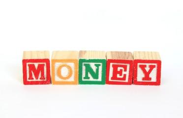 Money in alphabet blocks