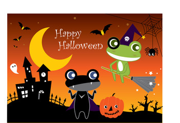 Halloween Cartoon Frogs