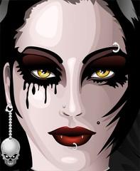 Viso Ragazza Vampiro Halloween Vampire Girl's Face-Vector