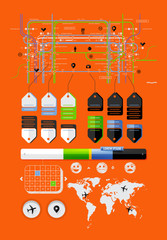 elements of the world map, infographics and icons
