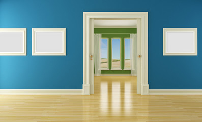 Empty interior with sliding door and window