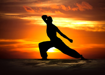 Wall Murals Martial arts Martial Arts Fitness at Sunset