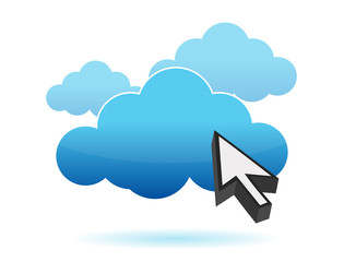 pointer and cloud icon illustration design