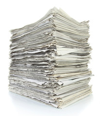 stack of newspaper isolated over white