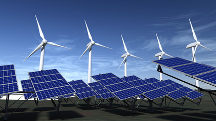 Wind turbines and solar panels with a blue sky