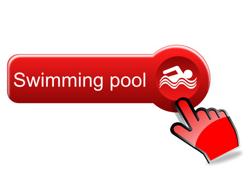Swimming pool button with red hand