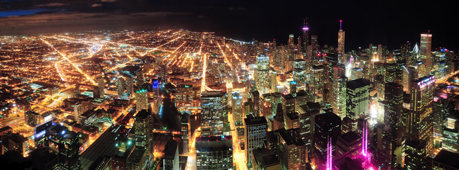 Fototapete - Chicago Night view panorama