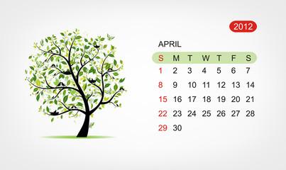 Vector calendar 2012, april. Art tree design