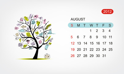 Vector calendar 2012, august. Art tree design