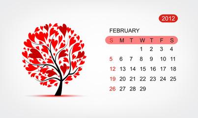 Vector calendar 2012, february. Art tree design