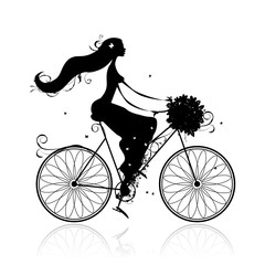 Recess Fitting Floral woman Girl with floral bouquet cycling