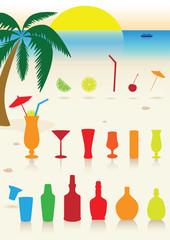 Tropical drinks set.