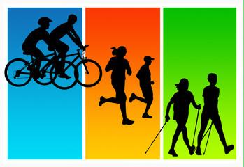 cycling running nordic walking