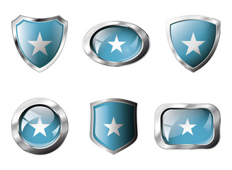 Somalia set shiny buttons and shields of flag with metal frame -