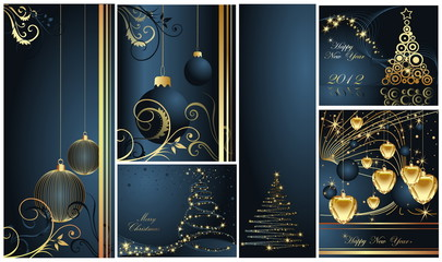 Merry Christmas and Happy New Year collection gold and blue