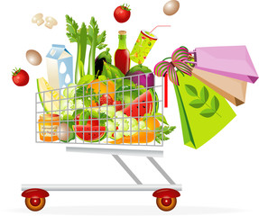 Supermarket shopping cart with food