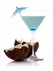 Coconut cocktail over white background