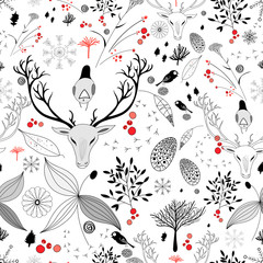 winter floral design with deer