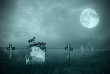 Gravestones in moonlight