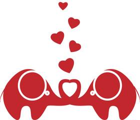 двух влюбленных слонов хранится сердце на белом фоне