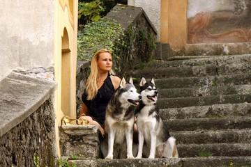 junge Frau und zwei Hunde weit schauend
