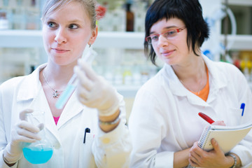 two female researchers in a chemistry lab
