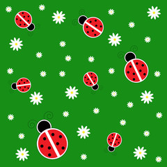 Foto op Canvas Lieveheersbeestjes Ladybugs on Grass