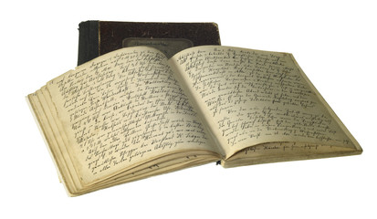 yellowed handwritten books