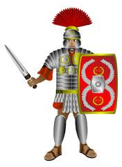 Spoed Foto op Canvas Ridders Roman centurion on white