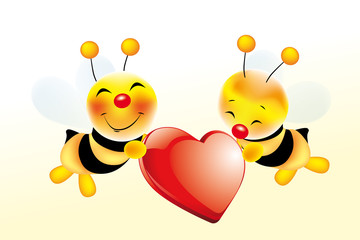 Two cute bees in love with glossy red heart