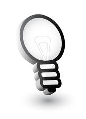 Lightbulb - computer icon, vector 3d