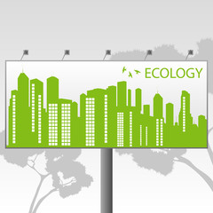 Green Eco city ecology vector background concept on billboard