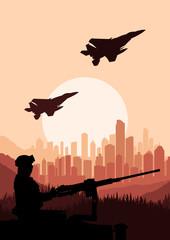 Keuken foto achterwand Militair Army soldier in skyscraper city landscape background