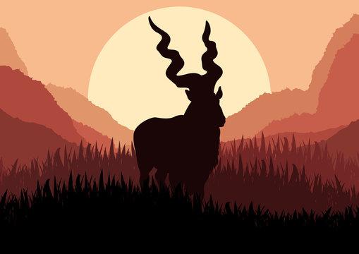 Mountain sheep in wild nature landscape illustration