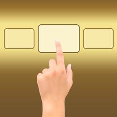 hand point golden square symbol