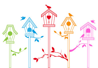 Deurstickers Vogels in kooien cute bird houses, vector