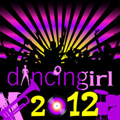party dancing girl for 2012 illustration