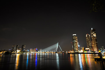 Rotterdam night view to Maas river and Erasmus bridge