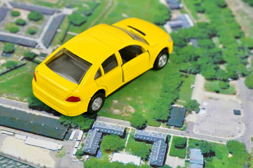 Satellite images and toy car