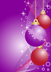 violet and red christmas balls
