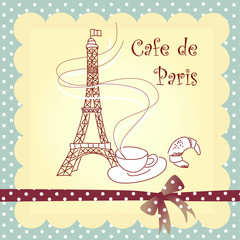 Photo sur Aluminium Doodle Cafe de Paris