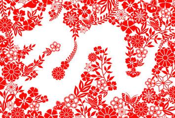 龍 年賀状 紅白