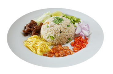 Mixed cooked rice with shrimp paste sauce and fresh vegetable
