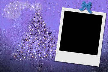 Christmas tree greeting card with instant frame