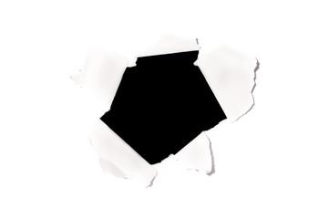 black hole on white paper