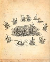 God neptune with sailboats illustration