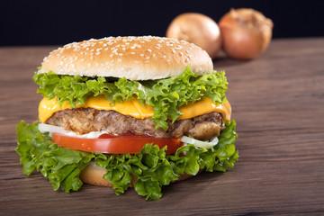 Hamburger frisch serviert, perspektive