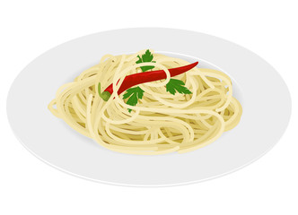 Spaghetti with chili on white background