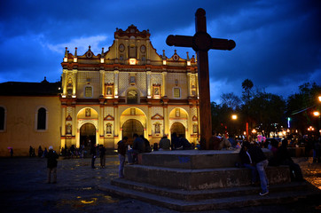Cathedral in San Cristobal, Mexico at night